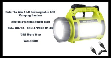 You Can Enter To Win A  LE Rechargeable LED Camping Lantern
