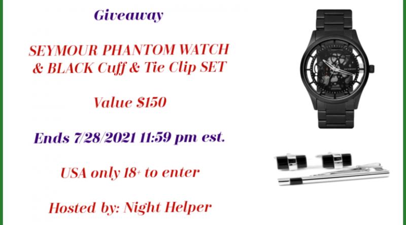{Giveaway} SEYMOUR PHANTOM WATCH & BLACK Cuff & Tie Clip SET